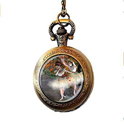 Degas' Ballerina Pocket Horloge Ketting Ballerina Pocket Horloge Ketting Degas' Ballerina Schilderen Kunst Sieraden Dansers Sieraden Dansers Sieraden Ballet