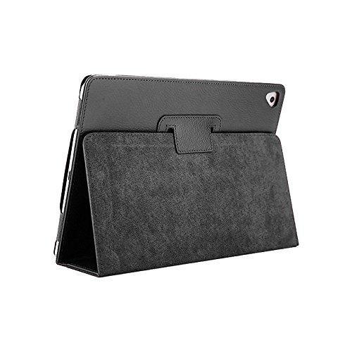 FAN SONG Bifold Series Litchi Stria Ultra Sottile Magnetico PU Smart Cover[ Stare in Piedi, Funzione Auto Sleep ] per Apple iPad Air/Air 2/PRO (9,7')/2018/2017 New iPad (9,7') Nero