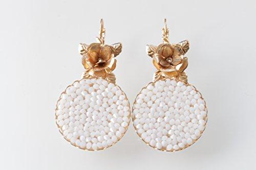 WHITE SWAROVSKI EARRINGS, Rose Gold Earrings, Hollywood Jewelry, Classy Earrings, Pomegranate Earrings, Dangle Earrings, Summer Wedding