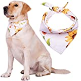 VWMYQ Unique Style Sunflower Dog Bandanas Washable Triangle Dog Scarfs for Small to Large Dogs Cats Pets Adjustable Reversible