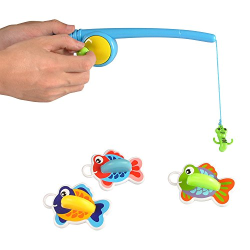 Liberty Imports Floating Fishing Game Pretend Play Water Bath Toy Set with 3 Fish Floats Upright -