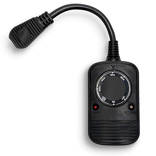 Austin Light Co. - 1 Socket - Outdoor Outlet Timer with Photocell Light Sensor, Weatherproof – Black - UL Listed. Commercial Grade. Great for Christmas, Holiday Lights, Patio, Backyard, Home