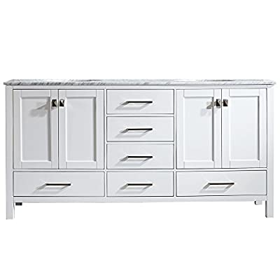 """Vinnova 723072-WH-CA-NM Gela 72"""" Double Vanity Carrera White Marble Top Without Mirror"""
