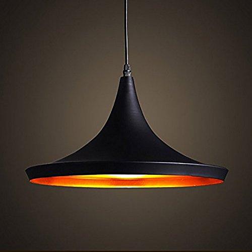 Moderne Industriel Beleuchtung Metall Schatten Loft Pendelleuchte Retro Deckenleuchte Vintage Lampenschirme Retro Küchenhänge Pendelleuchte E27(außen Schwarz Innen Gold)