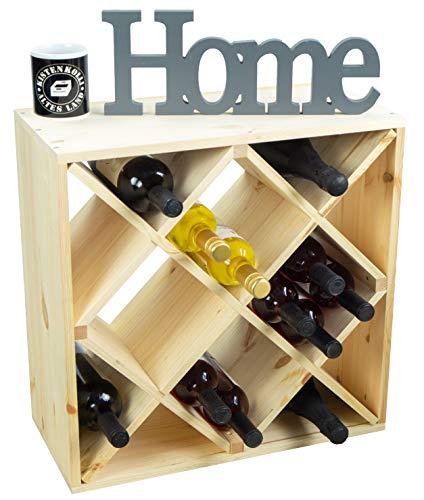 Kistenkolli Altes Land grosses Weinregal in DREI Ausführungen für bis zu 25 Flaschen 52 x 25 x 52 cm Wein-Regal | Flaschenregal Weinschrank (grosses Weinregal Natur Raute 52 x 52cm)