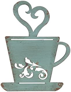Turquoise Metal Coffee Cup Wall Kitchen/Home Decor