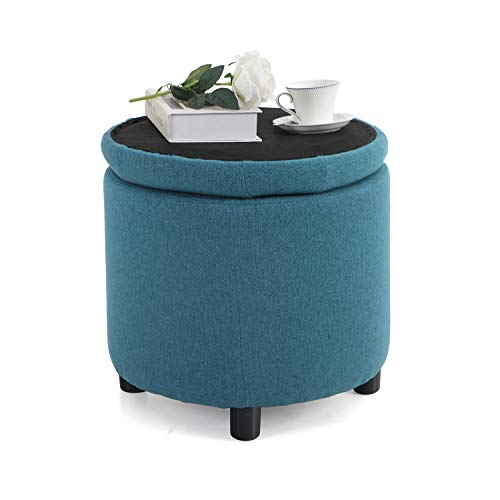 Sophia & William Round Storage Ottoman Footrest Stool with Removable Lid Button Tufted Side Table Seat Padded Cotton Linen Upholstered Legs for Living Room, Bedroom Kids Room-Blue