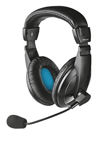 Trust Quasar - Auriculares con micrófono para PC, Color Negro