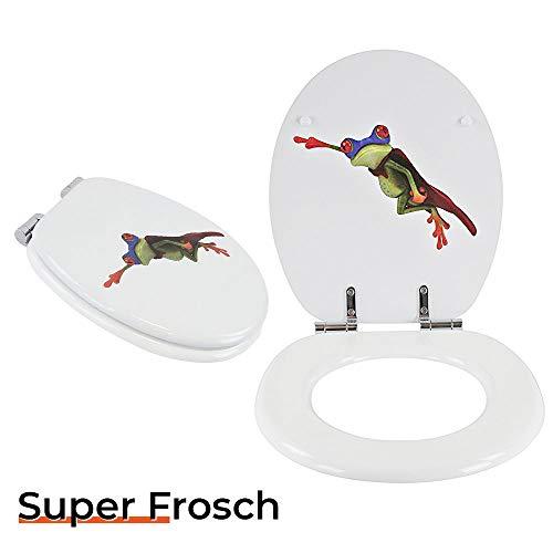 Toilettensitz WC-Sitz mit Absenkautomatik und verzinkten Scharnieren - Klobrille Klodeckel Toilettendeckel aus MDF … (Super Frosch)