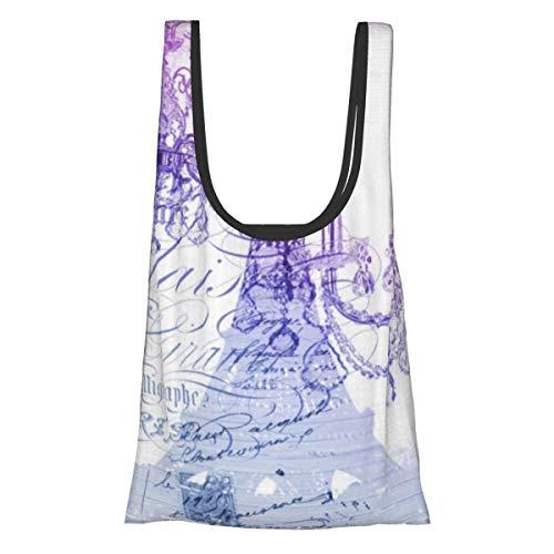 Bolsas plegables de compras reutilizables, lámpara de araña morada París Torre Eiffel...