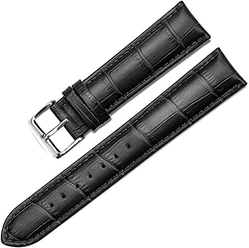 PINGZG Reloj Bandas 12mm-22mm Reloj de Cuero Strap Reloj Brazaletes Accesorios de Relojes para Hombres y Mujeres (Color : Black, Size : 20mm)