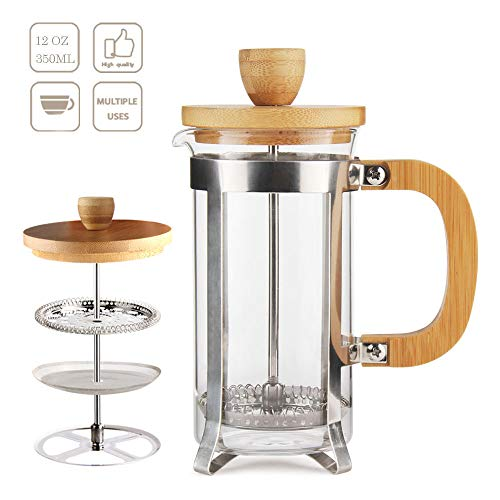 12 oz French Press Coffee/Tea Maker by Sivaphe Espresso Press Milk Frother with 18/8 Stainless Steel Filter 350ML High Borosilicate Carafe Durable Bamboo Handle