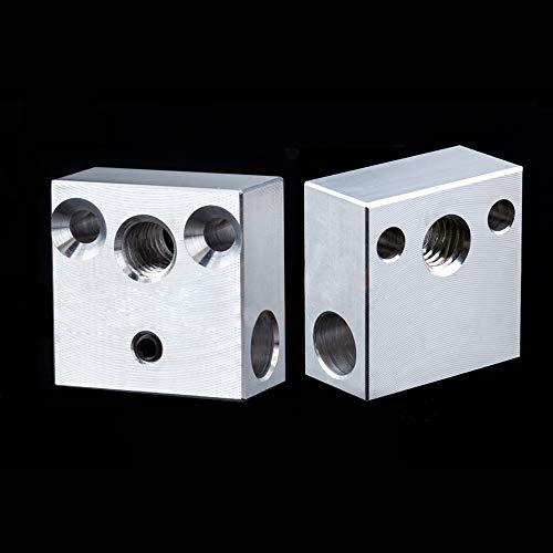 Paquete de 2 bloques de calentador CR-10 para Creality All Metal Hotend Ender 3s Ender 3 Pro Ender 5 Pro CR10 S4 S5 impresora 3D (aluminio)