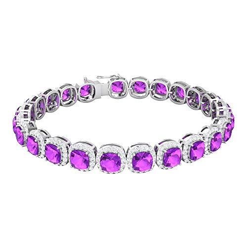 Rosec Jewels 14 quilates oro blanco cojín Round Brilliant Purple Creado en laboratorio de kunzita Moissanite