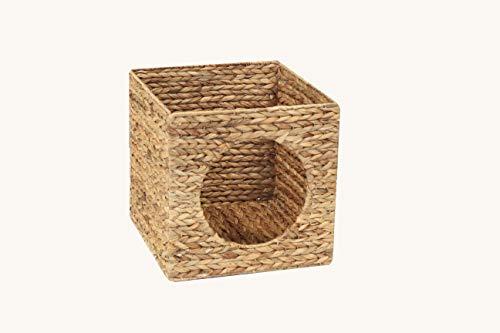 INWONA Kallax Expedit Katzenkorb 33 x 33 x 33 cm Natur Korb aus Wasserhyazinthe Tierkorb Tierhöhle Katzenhöhle Katzenbox Flechtkorb klappbar und sehr stabil ideal für kleine Hunde und Katzen