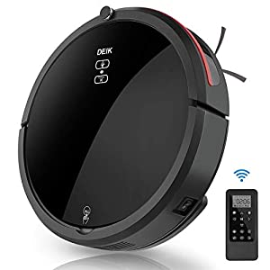 Deik Robot Vacuum Cleaner, Powerful Suction, Anti-Drop&Collision Sensor, Self-Charging, 5 selective cleaning modes, Quiet, Cleans Hard Floors to Medium-Pile Carpets