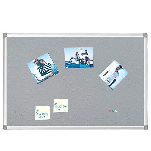 BEST BOARD Notice Board, Pin Board, Bulletin Board, Message Board, Fabric Board, Memo Board, Felt Board, Gray, 24 x 36 Inches, Silver Aluminum Frame