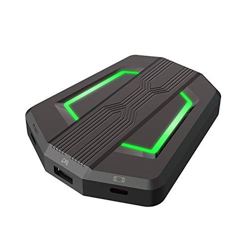 Conversor controlador de juegos con retroiluminación LED, adaptador/convertidor de ratón y teclado USB tipo C para PS4 / Xbox One / Xbox 360 / Nintendo Switch / PS3 (negro)