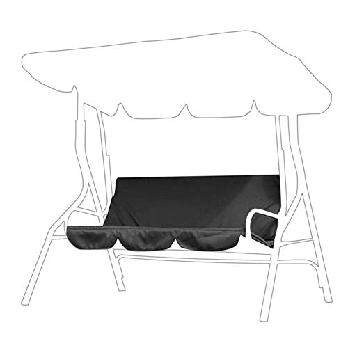 Omabeta Outdoor Swing 3-Seat Chair Waterproof Cushion Replacement Swing Seat Cover Patio Swing Chair Protection Cover Outdoor for Patio Garden Yard(black)