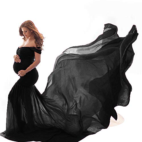 Dumanfs Maternity Dress Women Pregnants Off Shoulder Sleeveless Trailing Dress for Photography Props Black