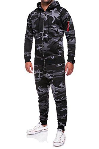 MT Styles Trainingsanzug Zip Jogginganzug Sportanzug TA-01 [Schwarz, L]