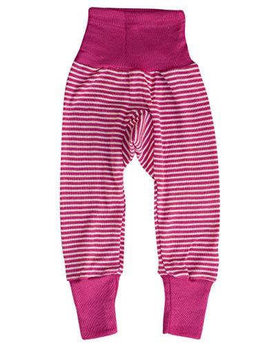 Cosilana - Pantaloni lunghi con fascia in vita, per neonati, 70% lana merino, 30% seta Rosa naturale...