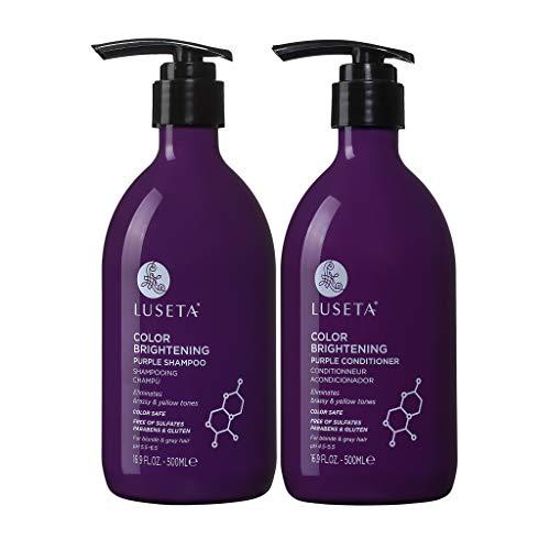 LUSETA Shampoing et Après Shampoing Violet pour Cheveux Blonds et Gris sans Sulfates ni Parabens avec Huile de Coco Nucléaire, 2 x 500 ml