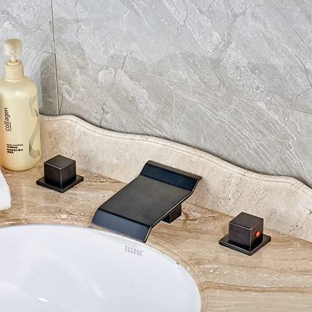 Grifo de la cocina Mezcladores de lavabo de cascada negros de bronce frotado con aceite Mezcladores de lavabo de doble mango Grifo de baño extendido montado en la cubierta