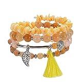 wersdf Armband Frauen Armbänder für Damen Bruchstein Armband Mehrkreis-Wickelarmband Yoga Wickelarmband Strand Wickelarmband Gelbes Armband