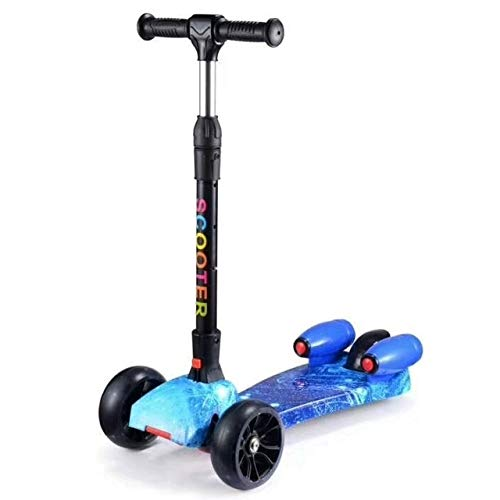 Wei Hongyu Patinetas Scooters Accesorios Scooter Plegable de Tres Ruedas for niños con Flash y Funciones de música (Color : Star Blue)