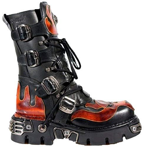 New Rock Newrock 107 S1 Red Skull Devil Black Leather Boot Biker Goth Rock Boots 46