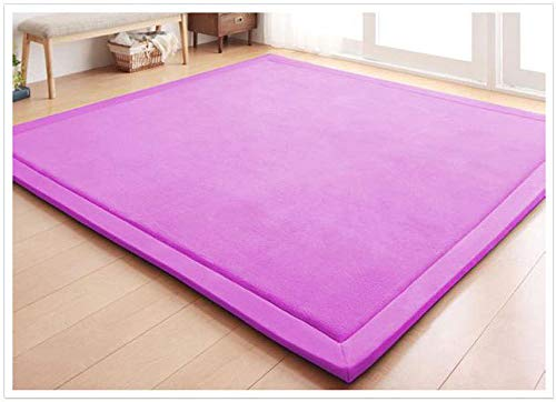 Best Review Of JASONN Modern Soft Carpet, Extra Large Baby Crawling Mat, Coral Velvet Thick Carpet Folding Soft Play Mat, Thick -2 cm, 200x260cm,Purple,200×200cm