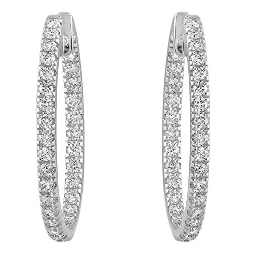 "Olivia Paris 14k White Gold 1 Carat cttw Round Brilliant Diamond Hoop Earrings (H-I,SI1-SI2) 1"" Inch"