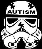 Chase Grace Studio Calcomanía de vinilo para concientización sobre autismo habla autismo, color blanco, para pared, 14 x 14 cm, CGS508