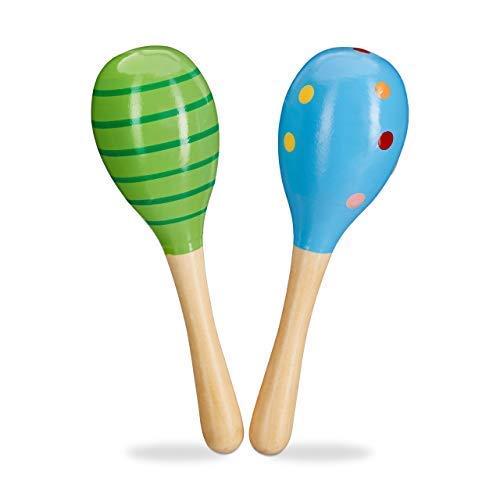 Relaxdays Maracas Holz 2er Set, Rassel, pädagogisch wertvolles Musikspielzeug für Kinder, kleine Holzrassel, grün/blau