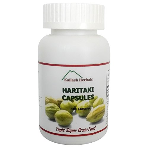 Organic Haritaki Capsules- Kailash Herbals-100 Capsules- 650 mg Each-Terminalia chebula - Detoxification & Rejuvenation for Vata*