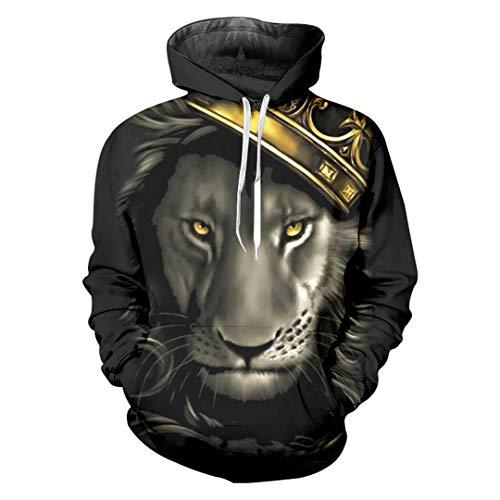 Ken-Rostisy Casual Mujeres/Hombres Fresco Imprimir León Rey con Sudadera 3D de la Corona con Capucha Lion King 6XL