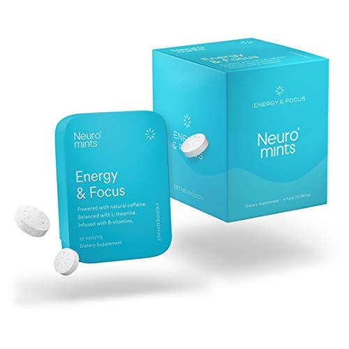 Neuro Mints Nootropic Energy Mints | Caffeine + L-theanine + B Vitamins | Sugar Free + Gluten free + Vegan (6 Pack = 72 Pieces, Mint)