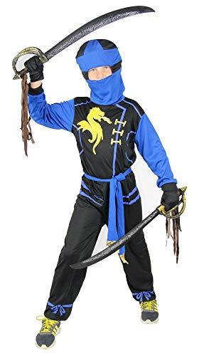 Foxxeo Ninja Kostüm für Jungen - Größe 92 bis 134 - schwarz blau - Kinder Krieger Kostüme Fasching Karneval, Größe 122-128
