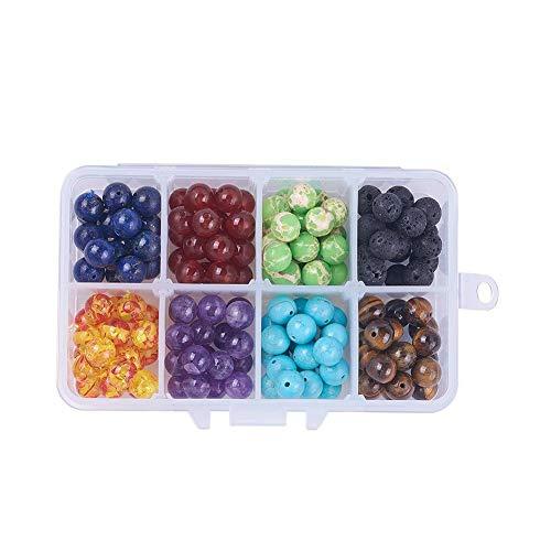 Weimay 1 perlas de chakra de colores, perlas volcánicas multicolor, empaquetadas para manualidades, accesorios de joyería, manualidades, fabricación de joyas, abalorios, accesorios.