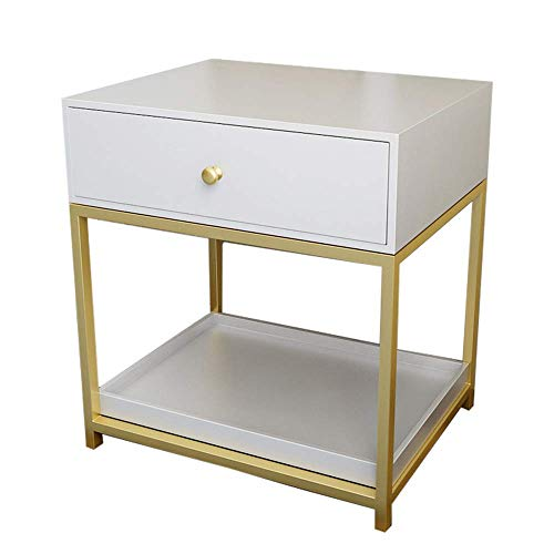 Carl Artbay Home & Selected Furniture/slaapkamer-slaapkamer-slaaptafel, multifunctioneel, voor opslag in rek Life zijbank, telefoontafel met 1 lade (kleur: wit)