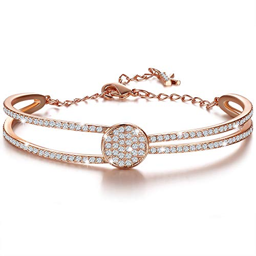 KIMILILY Gifts for Women Mom ,Rose Gold Bracelet for Women Her Party/Anniversary Day/Birthday,Sparkly Jewelry for Women,Crystal from Swarovski