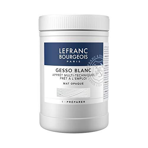 Lefranc & Bourgeois 300656 Gesso, weiss, universalgrundierung für Acrylfarben, gebrauchsfertig, matt opak, deckend, für Leinwand, Papier, Stein, Holz, Gips, 1000ml Topf