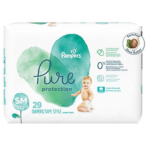Diapers Size 2, 29 Count - Pampers Pure Protection Disposable Baby Diapers, Hypoallergenic and Unscented Protection, Jumbo Pack