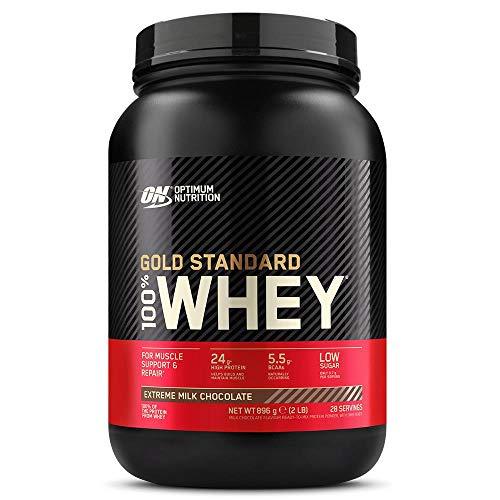 Optimum Nutrition Gold Standard 100% Whey Proteína en Polvo, Glutamina y Aminoácidos Naturales, BCAA, Extremo Chocolate, Leche, 28 Porciones, 900g, Embalaje Puede Variar ⭐