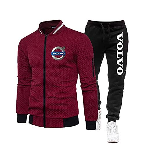 Herren Trainingsanzüge Sets Volvo Jogging Bottoms Gym Full Zipper Sweat Suits Stehkragen Sportjacke Hosen mit Taschen,Red-XXL