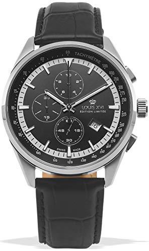 LOUIS XVI Herren-Armbanduhr Varennes Silber Schwarz Chronograph Analog Quarz echtes Leder Schwarz 918