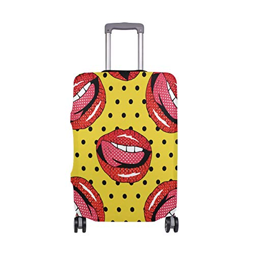 ALINLO Sexy Red Lip Luggage Cover Baggage Suitcase Travel Protector Fit for 18-32 Inch