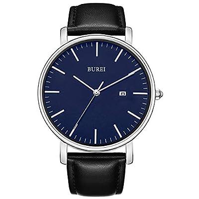BUREI Men's Fashion Minimalist Wrist Watch Analog Date with Leather Strap