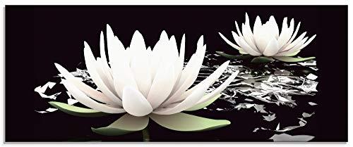 Artland Küchenrückwand Glas mit Motiv Spritzschutz Küche 125x50 cm Lotus Blume Blüte Pflanzen Natur Seerose im Wasser modern T9NL